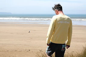 Unisex sweat shirt with beach behind
