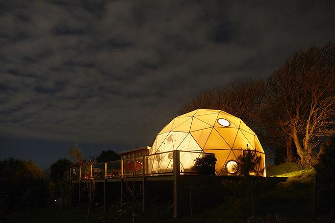 Illuminated eco pod in Devon