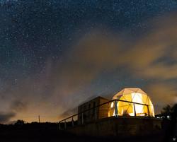 Night sky with eco pod in Devon