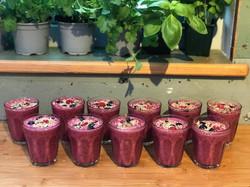 Berry smoothies prepared on Wild & Free retreat