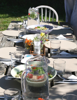 Dining table set for alfresco eating