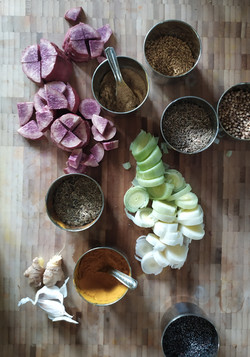 Fresh vegetables, herbs and spices used in vegan cooking