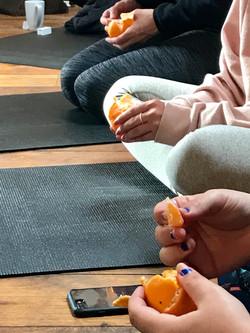 Enjoying some fruit after yoga