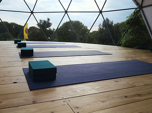 Yoga mats and blocks in geodesic dome