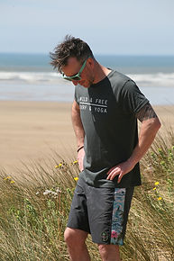 Mens Wild and Free Grey T-Shirt in the dunes