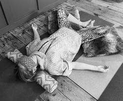 Amanda Bunton savasana with an eye pillow