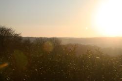 Sunset view over Devon hills in Chulmleigh