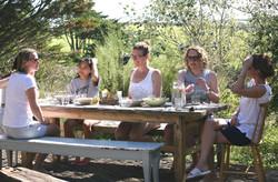 Enjoying some dinner Women & Water retreat
