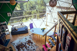 Living area in geodesic dome Loveland Farm