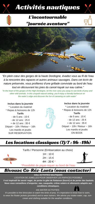 Base nautique en Corrèze, Canoe, kayak, paddle sur la Dordogne