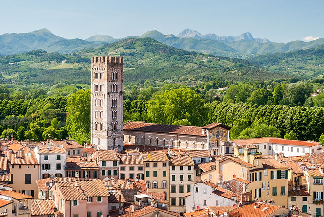 Aerial view of Lucca, in Tuscany, during