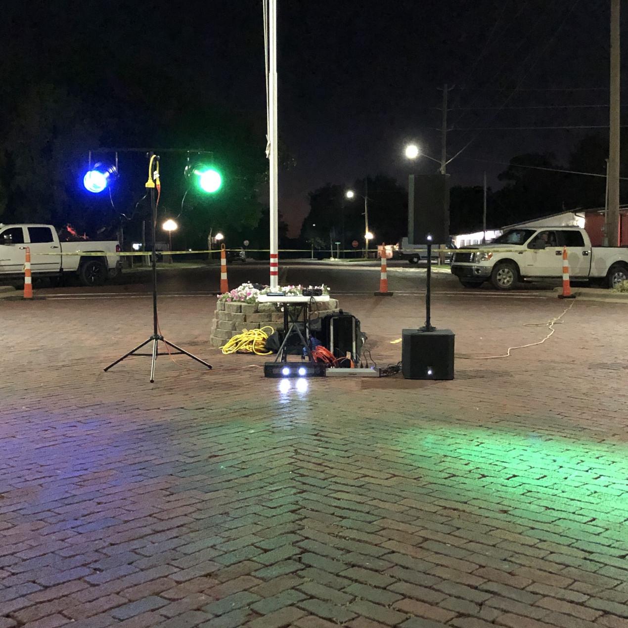 Sound System & Lighting setup for the street dance.
