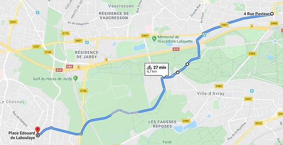 Trajet vélo Saint-Cloud-Versailles