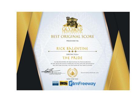 "RICK BALENTINE WINS BEST ORIGINAL SCORE IN THE OLYMPUS FILM FESTIVAL FOR ""THE PRIDE"""