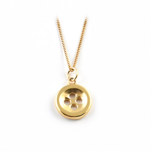 Gold Plated Button Pendant