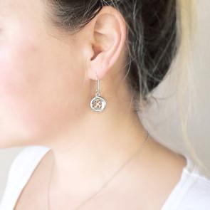 Dangly Silver Button Earrings