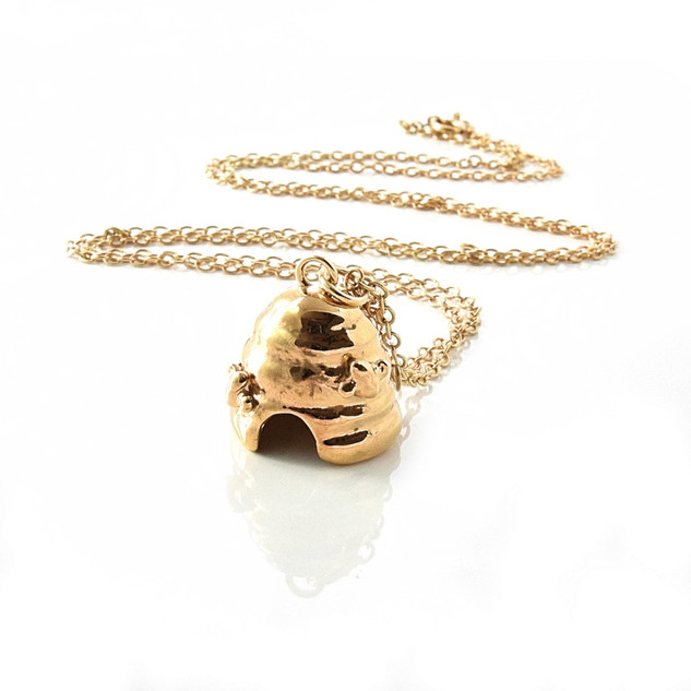 Gold Plated Beekeepers Bell Pendant