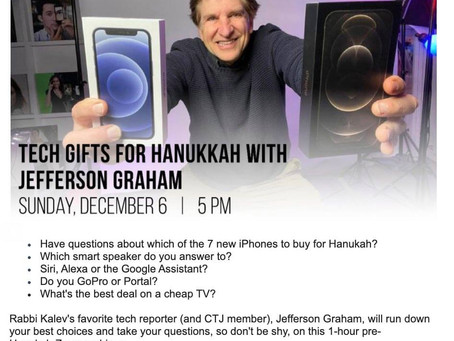 Get your questions ready! Hanukah Tech Sunday @5 p.m. PT