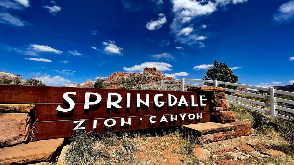 Entrance to Zion Canyon in Springdale, Utah by Jefferson Graham