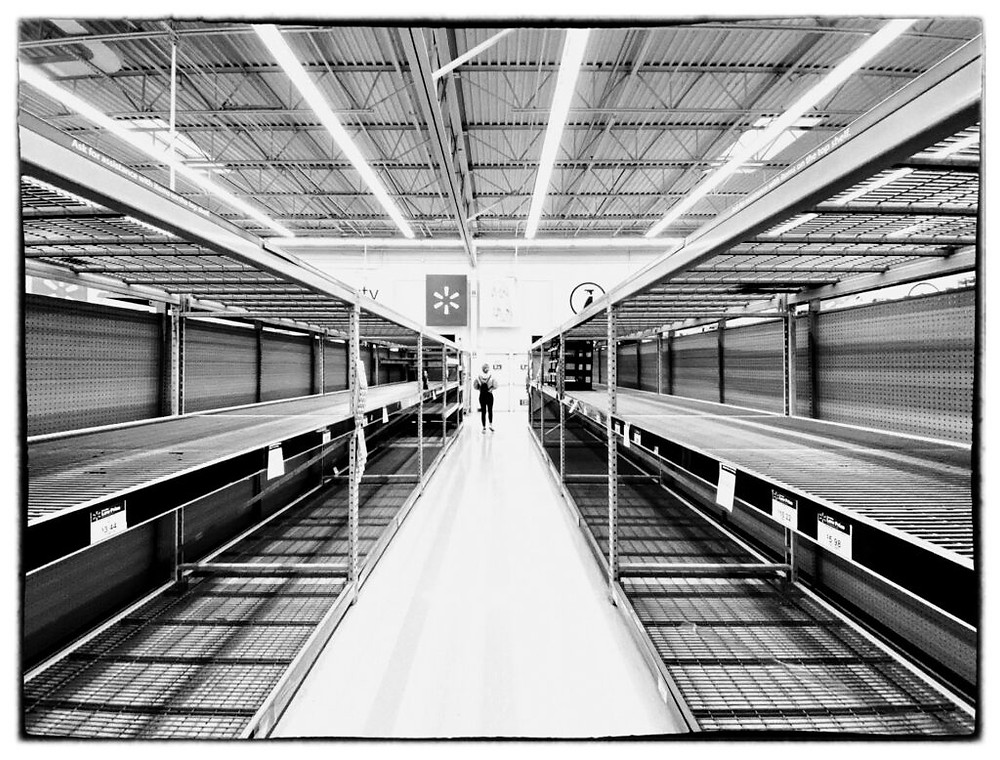 Empty shelves at the local Walmart
