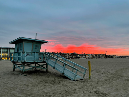 Red Glow over Hermosa Beach, 12/7/20