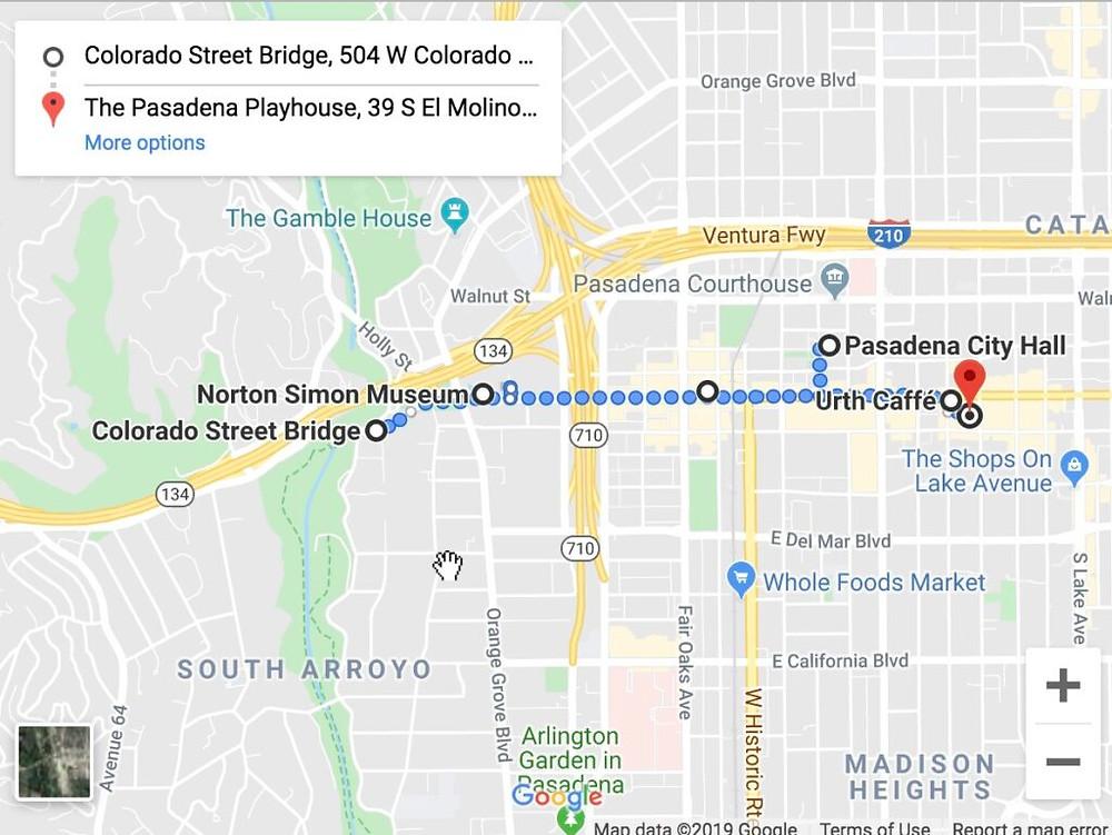 Map of Pasadena Photowalk