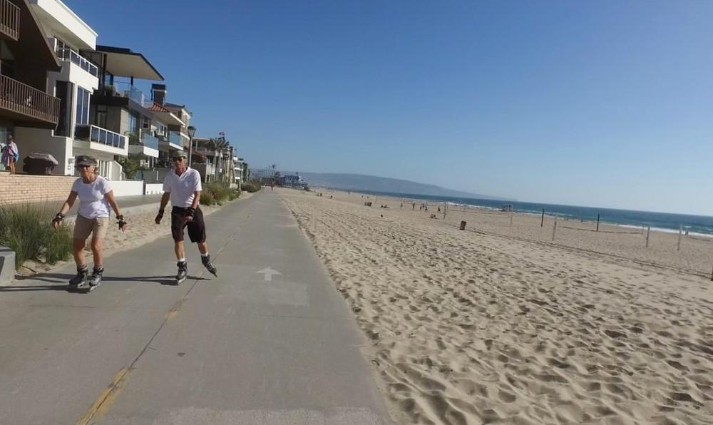 Roller blading in Manhattan Beach