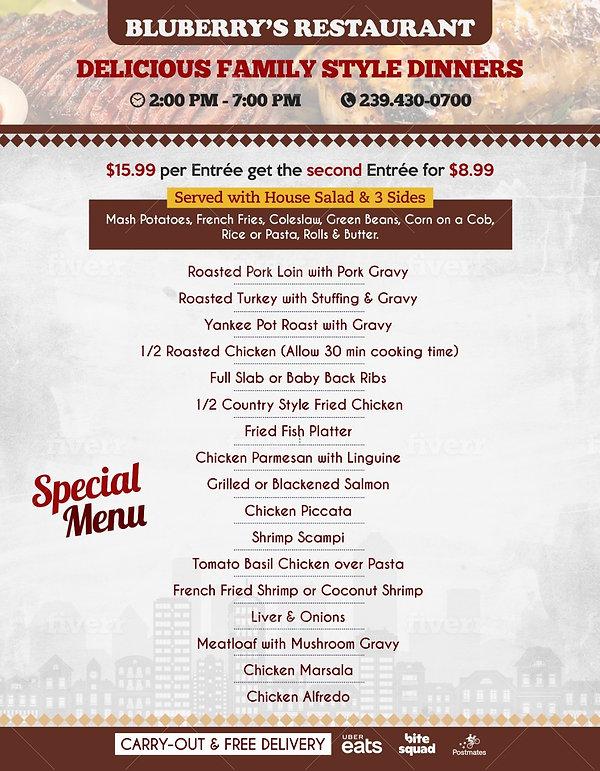 Special Menu Bluberry's Restaurant ,Napl