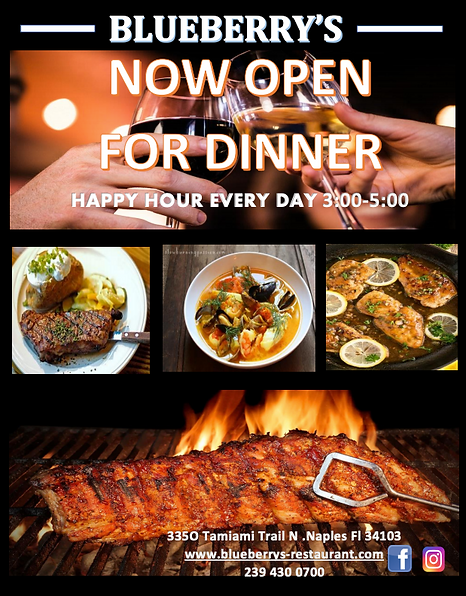 Blubery's Restaurant Naples Dinner Promo