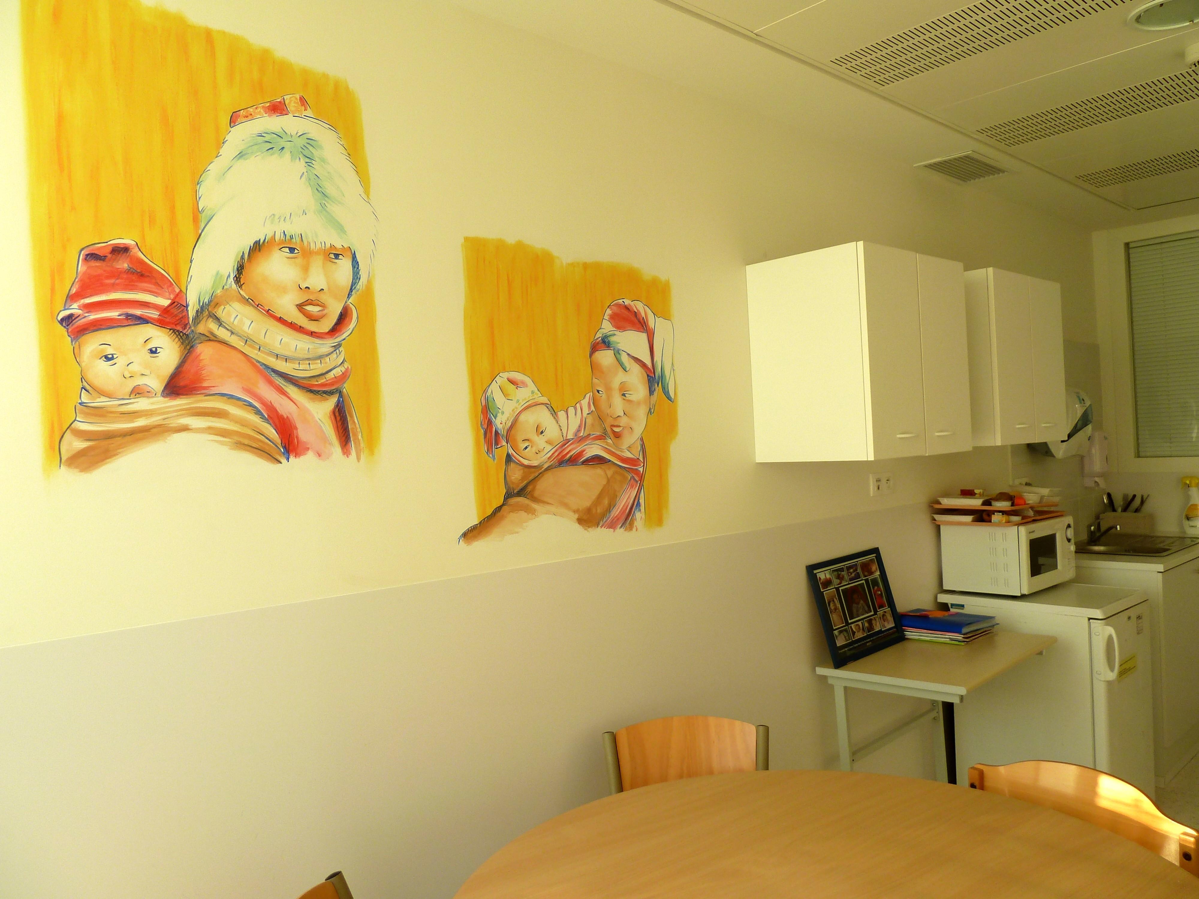 fresque, salle des parents  Néonat, hôpital de To