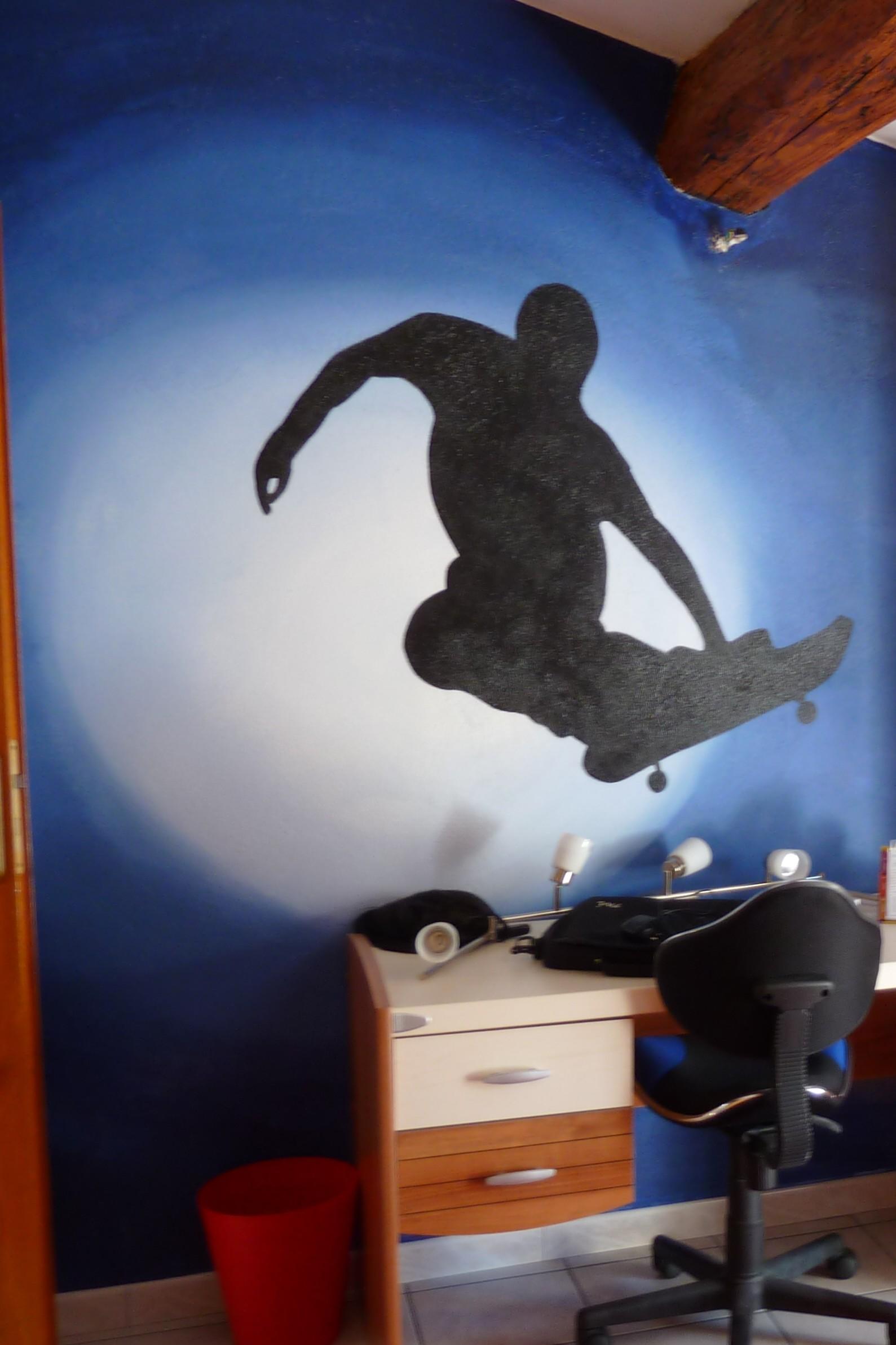 chambre garçon, thème sport skate board.