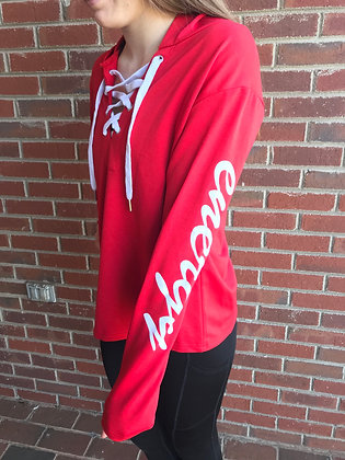 Energy Lace Up Sweatshirt- Red