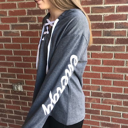 Energy Lace Up Sweatshirt- Grey
