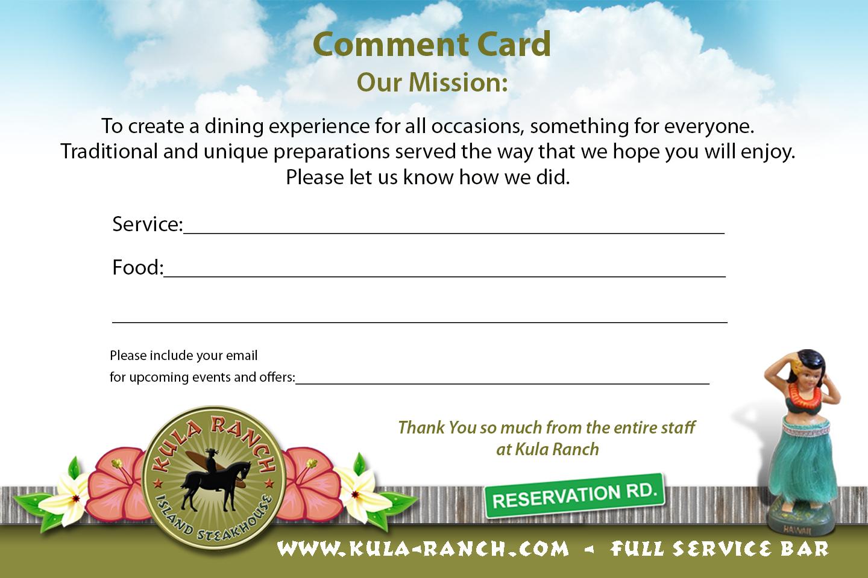 Kula Comment Card