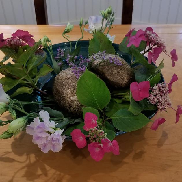Flower Arrangement with River Stone