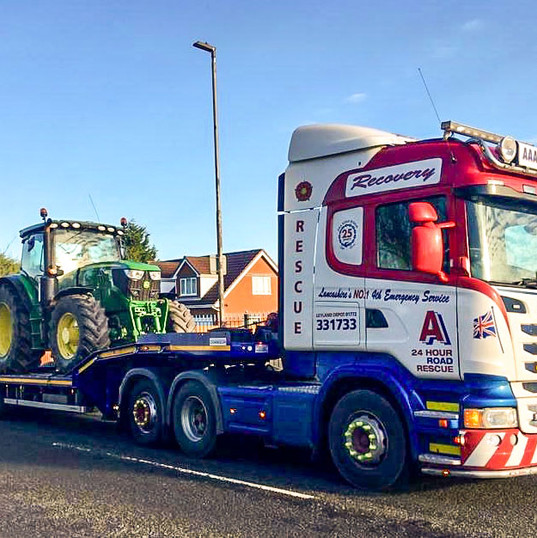 Tractor on low loader
