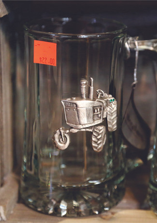 BEER MUGS WITH PEWTER TRACTOR.jpg
