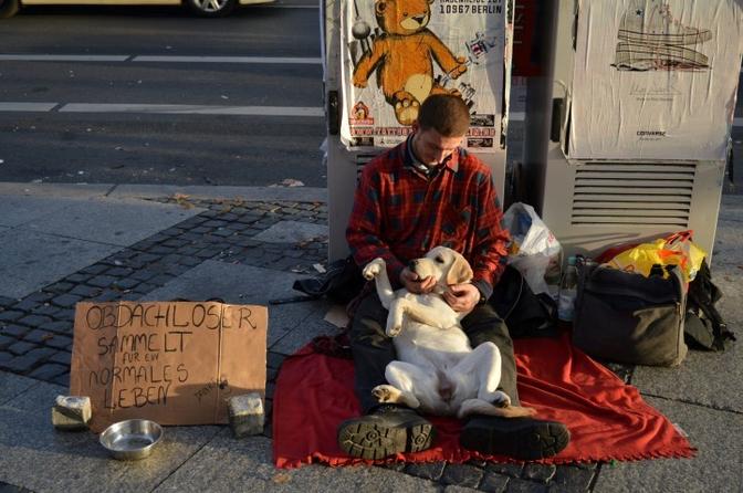Zwerver met zijn hond