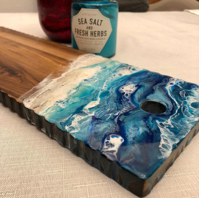 acacia wood serving board with beach art