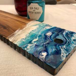 acacia wood serving board with beach art