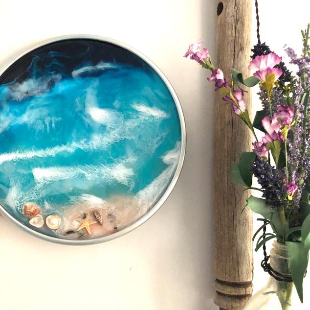 wall art or decorative aluminum tray with ocean art