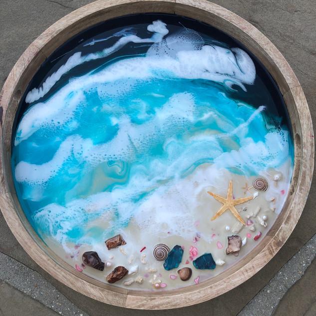 round serving tray with custom beach artwork