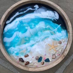 round serving tray with custom beach artwork