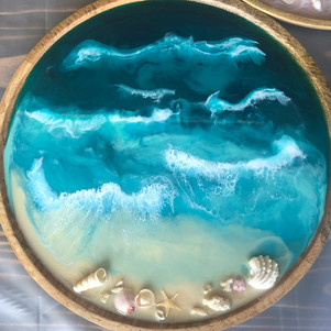 round wood serving tray with custom beach art