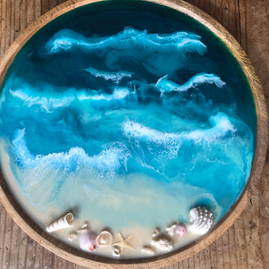 home decor wood serving tray with ocean art