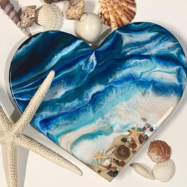wood heart original artwork custom gift