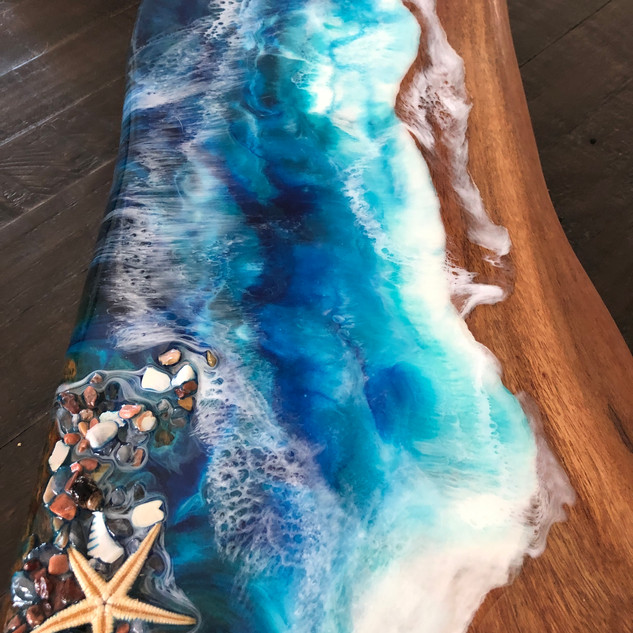 custom coastal art serving board