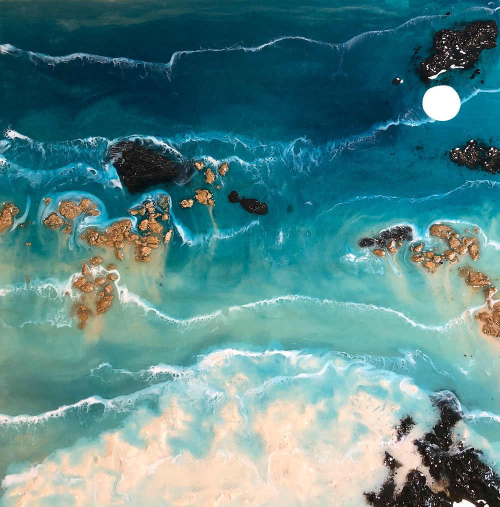 Work in Progress Mixed Media Resin Coastal Artwork.