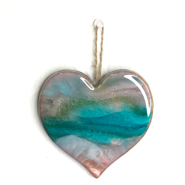 Resin heart Christmas ornament