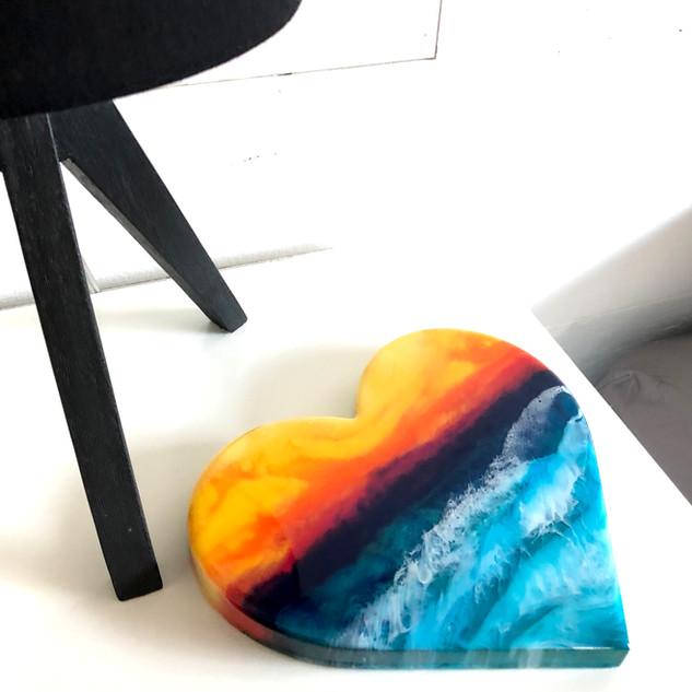 custom beach artwork on a heart